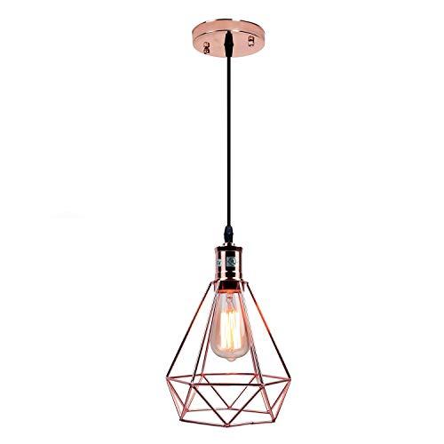 Pauwer Lámpara colgante de alambre, iluminación industrial, vintage, Edison, lámpara de techo, jaula sombra (oro rosado)