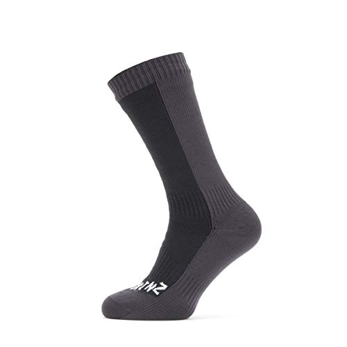 SealSkinz Waterproof Cold Weather Mid Length Sock, Black/Grey, XL
