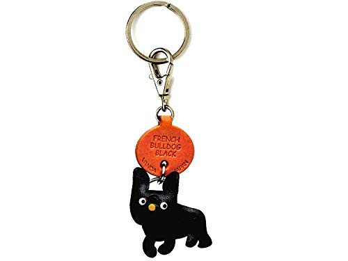 French Bulldog Black Leather Dog Small Keychain VANCA Craft-Collectible Keyring Charm Pendant Made in Japan