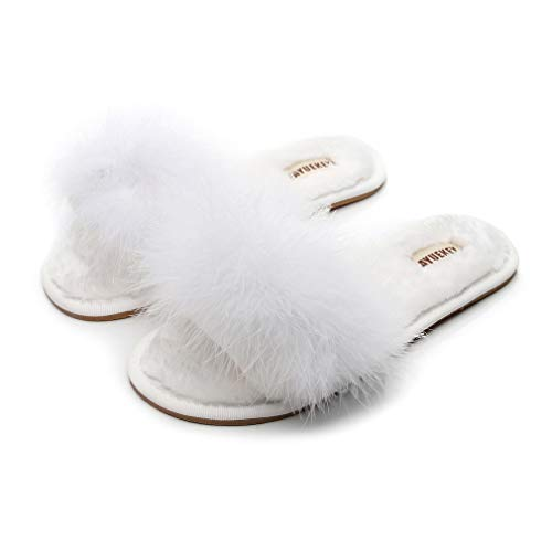 FAYUEKEY Real Fur Slippers for Women Summer Autumn Fluffy Furry Soft Plush Open Toe Slides Flats Shoes (7, White)
