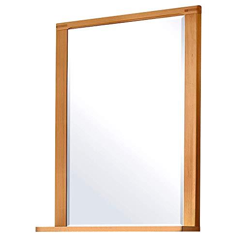 Nature Plus Wandspiegel aus Kernbuche mit Stollenoptik & Ablage - hochwertiger Spiegel für Flur & Garderobe - 74 x 93 x 15 cm (B/H/T)
