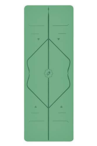 Liforme Yogamatte - umweltfreundlicher Gummi - Grün - Yoga Fitness Matte - mit Yogatasche