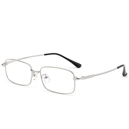 CAOXN Gafas De Lectura Retro De Titanio Puro Anti-Luz Azul, Lentes De Lectura con Lente De Resina HD Antifatiga Óptica +0,1 A +3,0,Plata,+2.50