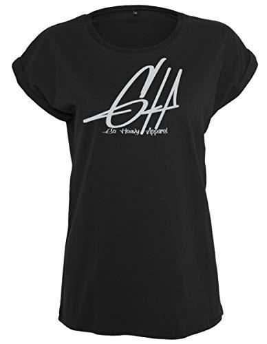 GO HEAVY - Camiseta de manga corta para mujer, diseño con texto en inglés, color negro, M