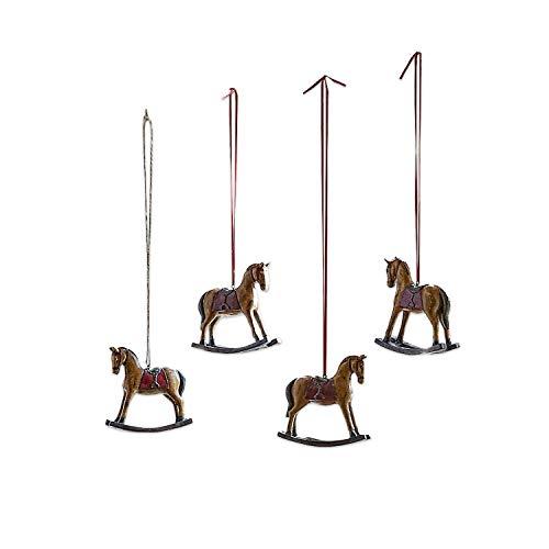 Loberon Deko-Pferde 4er Set Cory, Polyresin, H/B/T 11/12 / 3,5 cm, braun