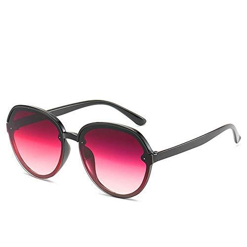 WDDYYYBF zonnebril Casual Oversized Aviator zonnebril voor vrouwen mannen frame van Lega Fashion Beach Travel Uv400 frame zwart wijnglas rood