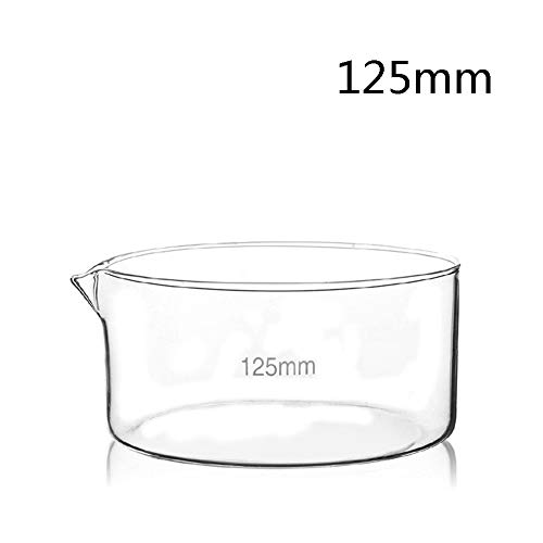 DADAKEWIN 125mm Crystallizing Dish Flat Bottom with Spout Borosilicate 3.3 Glass Heat Resistant Evaporation Dishes Lab Dishes- Pack of 5 (Size : 125mm)