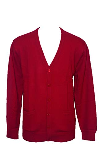 Shephe 4 Ply Men's Cardigan Button Closure Cashmere Sweater Dark Red Large