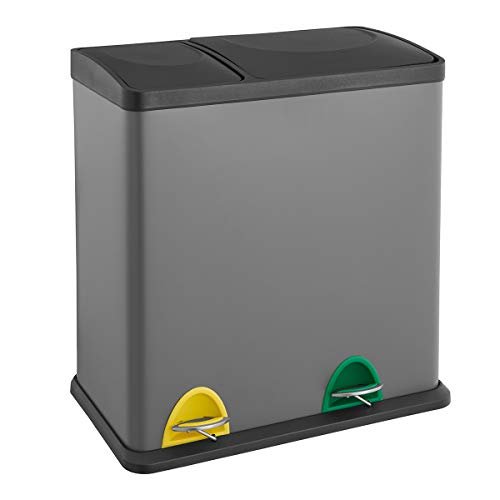 SVITA TC2Combo35 grau Küchen-Eimer 35Liter kombiniert (12L+23L) doppelt Abfalleimer 2er-Mülleimer Mülltrennung Treteimer