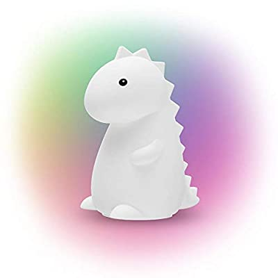 Adorable Global Tommy Dinosaur TIK Tok Multicolor Changing Integrated LED Rechargeable Silicone Night Light Lamp, White - Kids Room