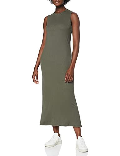 Marca Amazon - MERAKI Vestido Maxi sin Mangas Slim Fit Mujer, Verde (Green), 40, Label: M