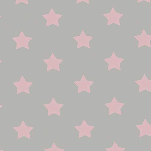 ecosoul Nappe en toile cirée - Motif étoile rose - Facile à nettoyer - Lisse - Largeur : 140 cm - Longueur : 140 cm