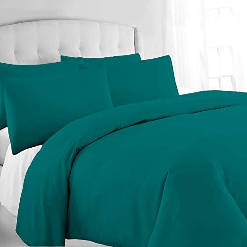 Pizuna 400 Hilos algodón Funda nordica Cama 150 Verde Azulado, 2 Piezas 100% algodón de Fibra Larga y satén, el Juego Incluye: 1 Funda de edredón 240x230 cm y 2 Fundas de Almohada de 45x85