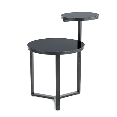 yxx 2 Tier End Table Wrought Iron Side Table With Black Tempered Glass Art Design Tea Table For Living Room Hotel Reception Room,double Layers Accent Table (Color : Black)