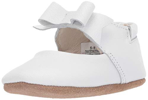 Robeez Girls' Ankle Strap Mary Jane First Kicks Crib Shoe, Sofia White, 6-9 Months M US Infant