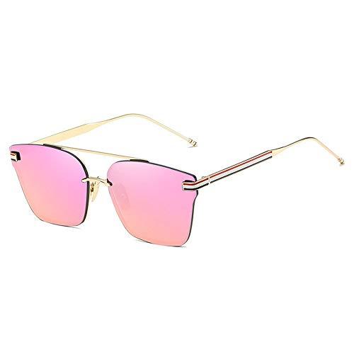 CHSDN , Nuevas Gafas de Sol, Gafas de Sol Retro niña de Tendencia, la película vidrios Coloridos Adecuada for Cualquier Cara (Size : Gold Frame Barbie Powder)
