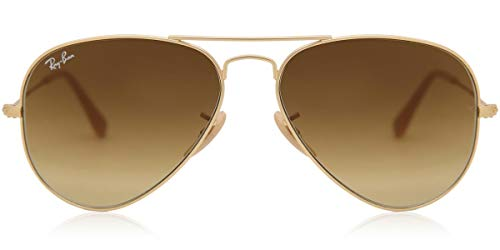 Ray-Ban AVIATOR LARGE METAL Matte Gold Brown Gradient 55mm RB3025 112/85 Small Aviator Sunglasses
