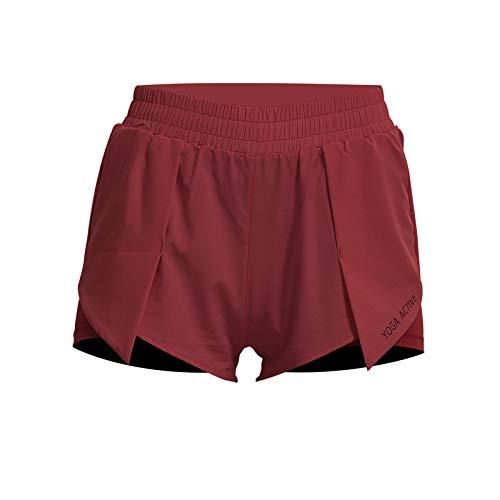 Pantalones Cortos Deportivos para Correr de Dos Piezas Falsos de Verano para Mujer, Pantalones Cortos de Yoga Transpirables con Cintura elástica Suelta Informal Small
