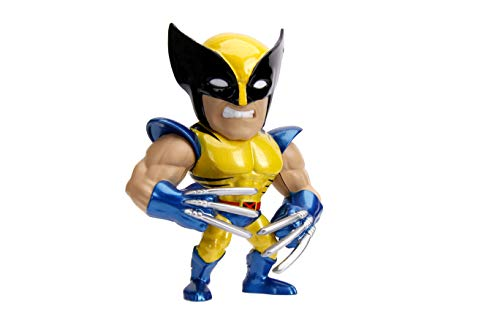 Jada Toys Metalfigs X-Men Wolverine 4' Die-Cast Collectible Figure, 100% Diecast Metal, Metallic Yellow