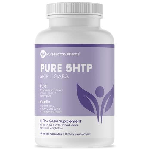 Pure 5-HTP (5-Hydroxytryptophan) Plus GABA - Serotonin Support for...