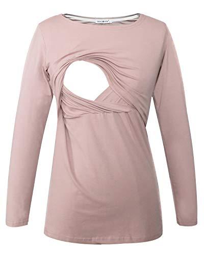 Smallshow Maglietta Allattamento Maniche Lunghe Donna Gravidanza T-Shirt Brown XXL