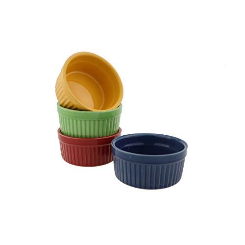 JunZiBuQi Ceramic Baking Bowl,3.5'Porcelain Ramekins Souffle Cake Bowl Pudding Cup For Baking Appliances Creme Brulee Custard Cups Desserts Sauce Dishes Dipping Bowls(Set of 4)