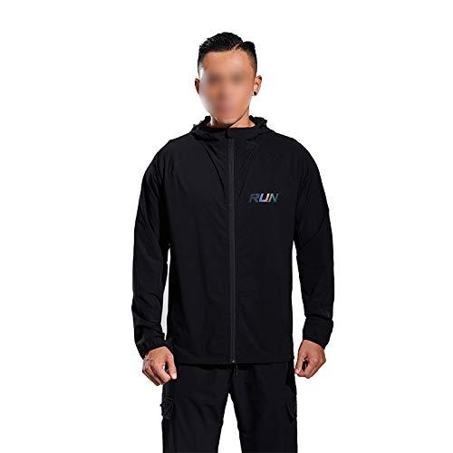 Deportes al aire libre casual abrigo para hombres de secado rápido transpirable con capucha caída nuevo suelto manga larga estiramiento fitness desgaste