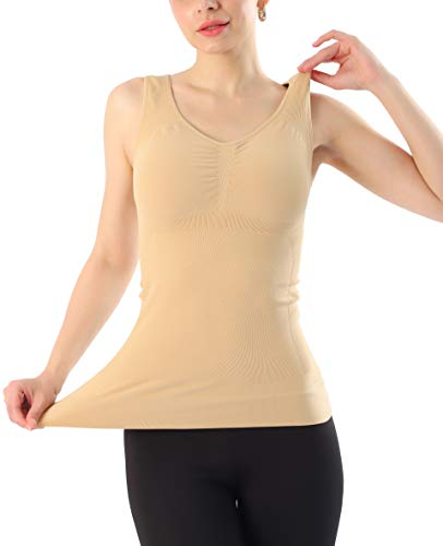 Women's Tank Top Shaper with Removable Pads, Nude, Large