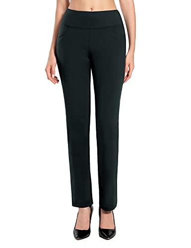 MOVE BEYOND Burrosa Morbida Donna Gamba Dritta Pantaloni da Yoga con 4 Tasche Pancia di Controllo Allenamento Pantaloni da Lavoro, Grigio, L