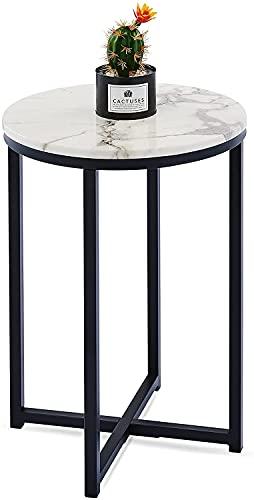 VONLUCE 40cm Moderner runder Beistelltisch mit Kunstmarmorplatte (Schwarz)