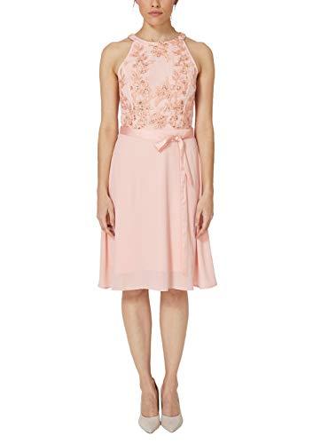 s.Oliver BLACK LABEL Damen Schulterfreies Kleid mit Embroidery Hello Peach 38