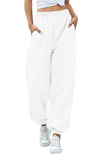 Women's Cinch Bottom Sweatpants Pockets High Waist Sporty Gym Athletic Fit Jogger Pants Lounge Trousers (White A, XL)