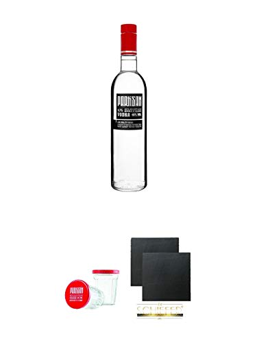 Partisan Vodka 40 Prozent 0,7 Liter + Partisan Sto Gramm Wodka Glas 10 cl mit Deckel 2 Stück + Schiefer Glasuntersetzer eckig ca. 9,5 cm Ø 2 Stück
