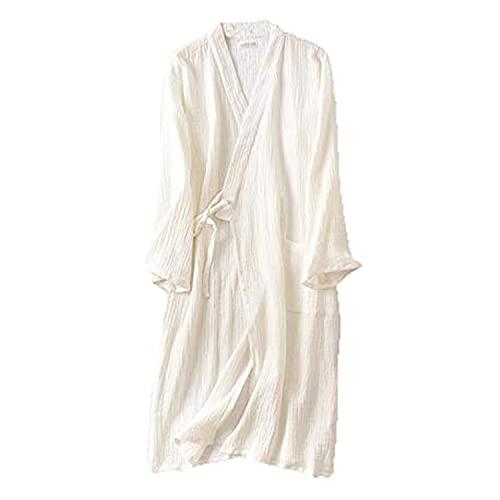 ガウン ダブルガーゼ バスローブ 綿100% メンズ レディース タオル地 吸水速乾 お風呂上がり 優しい肌触り コットン素材 男女兼用 ルームウェア ホテル 部屋着 おそろい XL, ホワイトYL02C0078-HW-4