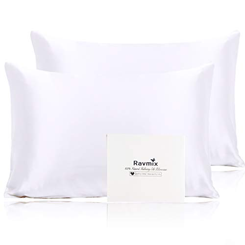 Ravmix 2 Pack 100% Natural Silk Pillowcase for Hair and Skin with Hidden Zipper, Both Sides 21 Momme 600 TC Hypoallergenic Soft Breathable Silk Toddler Pillow Cases 14×20inch, White