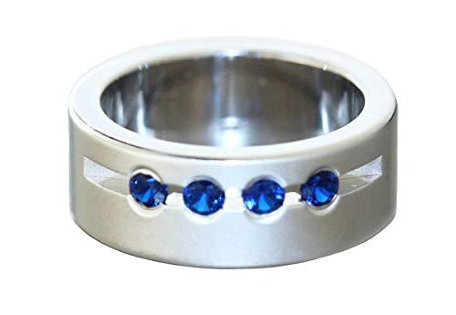 Hobra-Gold Anillo de plata maciza 925 con circonitas azules, anillo ancho de plata para mujer