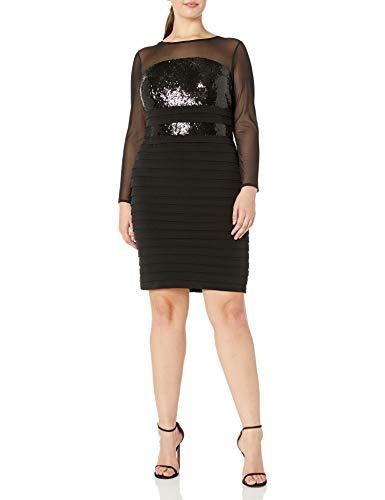 London Times Women's Plus Size Long Sleeve Sheath Dress w. Illusion Neckline, Black, 14W