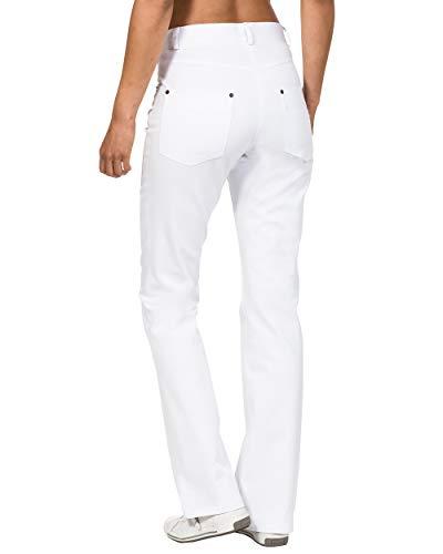 CLINIC DRESS Hose 5-Pocket-Hose für Damen Bootcut hohe Taille 97{65bae6e19b6cb9758199da71402a23eb6c81a1bb75125d5df45f015ff6874d6d} Baumwolle 60° Wäsche weiß 36