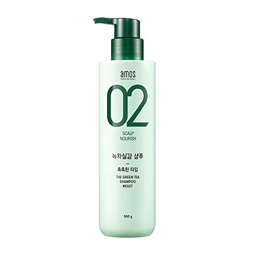 AMOS PROFESSIONAL The Green Tea Shampoo [Moist - For Normal/Dry Scalp] 500g | Anti-Thinning & Anti- Hair Loss Shampoo for Hair Growth and Moisture | Korean Hair Salon Brand