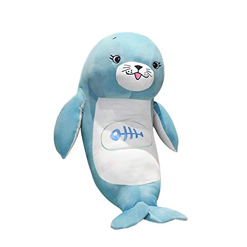 DENTRUN Sea Lions Stuffed Animals, Cute Cotton Plush Bed/Sofa Pillows, Curved Shape Plush Toy Gifts for Kids Girls Boys Adults Birthday Xmas Gift Present, Head Girth 19.69/25.59/31.50 Inch
