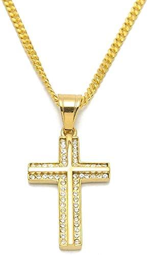 ZPPYMXGZ Co.,ltd Collar de Acero Inoxidable 316L Color Dorado Iced out Hip Hop Cruz en Forma de T Collar con Cadena de eslabones cubanos de 24 Pulgadas Regalos