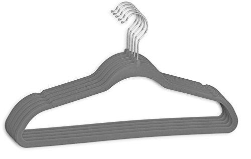 DIES&DAS 10-100 Stück Menge frei wählbar (10 STK.) Kleiderbügel Grau aus Kunststoff, beflockt, Anti - Rutsch Beschichtung, drehbarem Haken und Hosensteg, Kerben für Rock und Hosenhänger