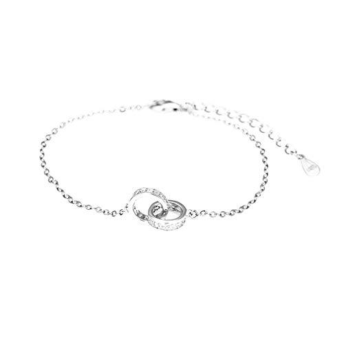 Pulsera de plata esterlina S925, pulsera colgante de doble anillo, pulsera para mujer, longitud 16 + 3 cm, ajustable, adecuada para regalos de cumpleaños y aniversario