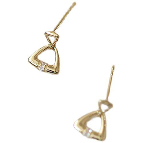 Pendientes de botón de plata esterlina 925 chapados en oro de 18 k, geometría triangular, pequeños pendientes cotidianos simples para mujeres
