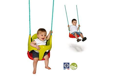 Smoby - Siège Bébé 2 en 1 - Evolutif - Siège pour Balançoire Enfant - Dès 18 Mois - Ergonomique - Cordes Fournies -310194