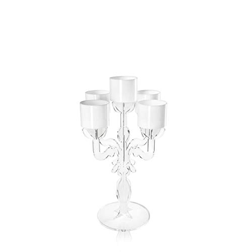 iPLEX - Ermione Candelabro Design Rinascimentale con 5 Braccia in plexiglass Trasparente Dim. 36x24,7x24,7 cm - Arredamento CAS