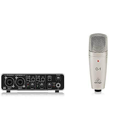 Behringer U-Phoria Umc202Hd Interface De Audio/Midi Usb + C-1 Micrófono De Condensador (De Estudio, Xlr, 100 Ω, 40 Hz 20 Khz), Color Dorado