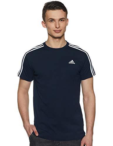 adidas T-Shirt Essentials Classics 3 Bandes pour Homme XS Bleu Marine