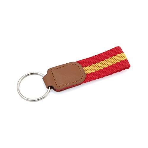 Schlüsselanhänger Spanische Flagge aus Kunstleder | mit spanischem Flaggenzubehör am Band und Verstärkung.