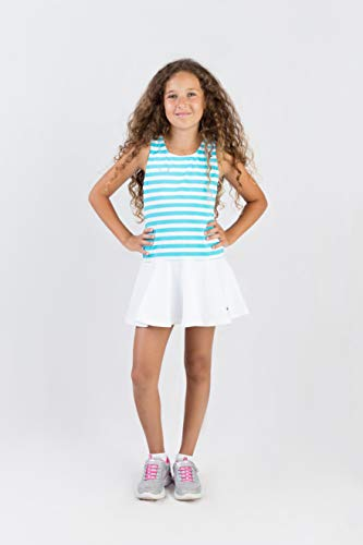 EMZA - Mädchen Tennisbekleidung (Türkis+Weiß, 140-146)